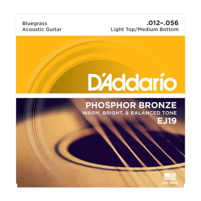 D'Addario EJ19 Phosphor Bronze Acoustic Guitar Strings Bluegrass 12-56