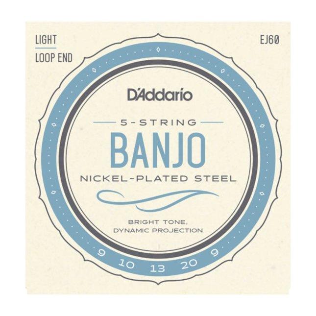 D'addario EJ60 5-String Banjo Nickel Light 9-20