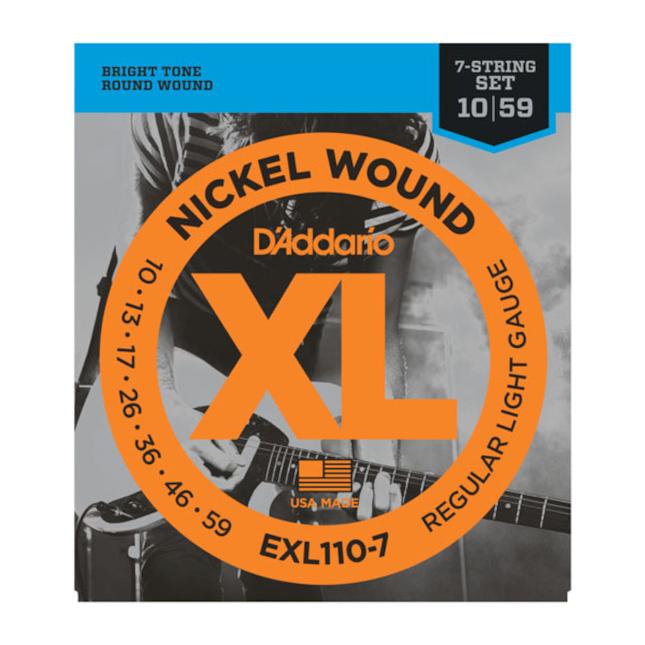 D'Addario EXL110-7 7-String Nickel Wound Electric Guitar Strings Regular Light 10-59