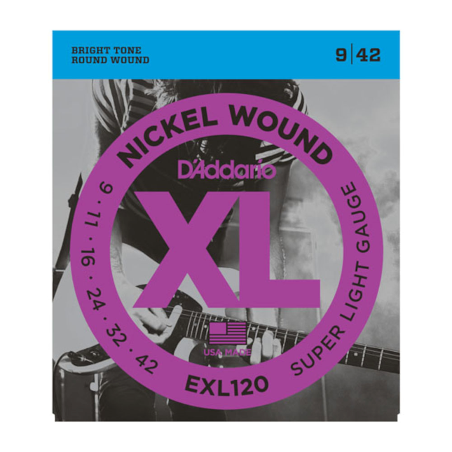 D'Addario EXL120 Nickel Wound Electric Guitar Strings Super Light 9-42