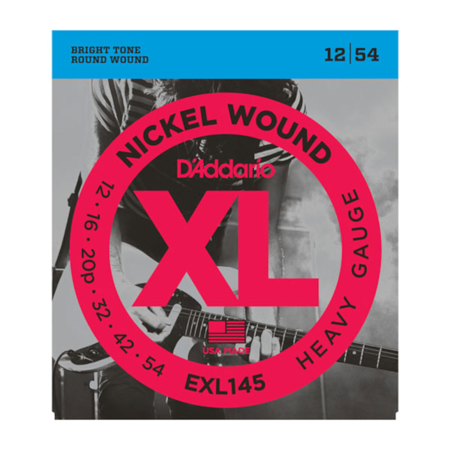 D'Addario EXL145 Nickel Wound Electric Guitar Strings Heavy 12-54 with Plain Steel 3rd