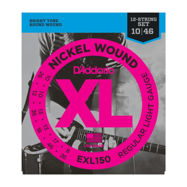 D'Addario EXL150 Nickel Wound Electric Guitar Strings 12-String Regular Light 10-46