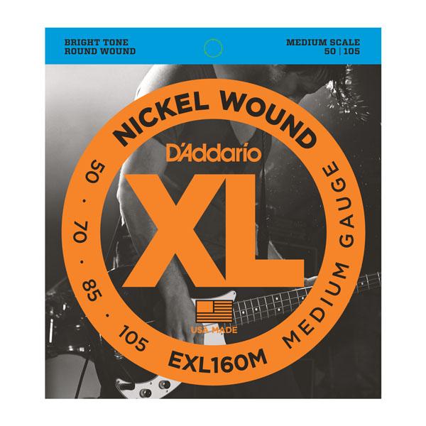 D'Addario EXL160M Nickel Wound Bass Guitar Strings Medium 50-105 Medium Scale