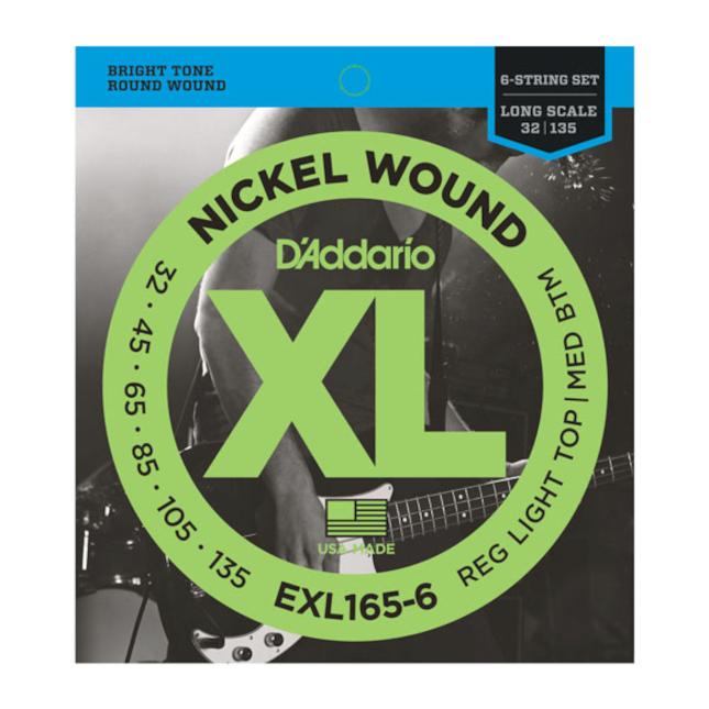 D'Addario EXL165-6 6-String Nickel Wound Bass Guitar Strings Custom Light 32-135 Long Scale