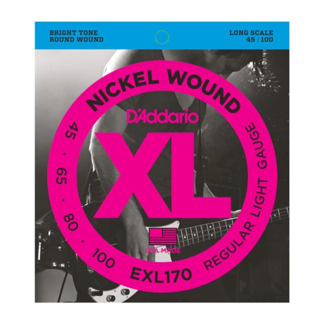 D'Addario EXL170 Nickel Wound Bass Guitar Strings Light 45-100 Long Scale