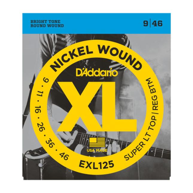 D'Addario EXL125 Nickel Wound Electric Guitar Strings Super Light Top/ Regular Bottom 9-46