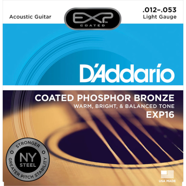 D'addario EXP16 Coated Phosphor Bronze Acoustic Guitar Light 12-53