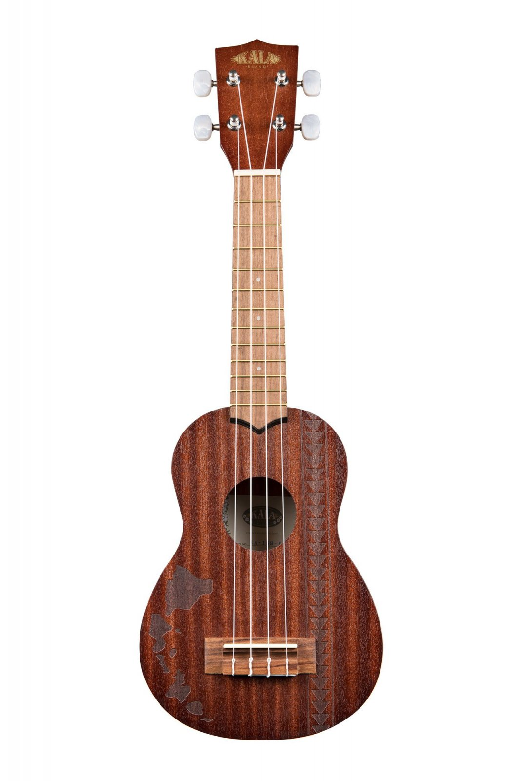 Kala KA-15S-H2 Satin Mahogany Soprano w/ Hawaiian Islands & Tattoo