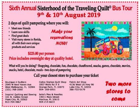 Sisterhood of the Traveling Quilt Bus Trip 2019