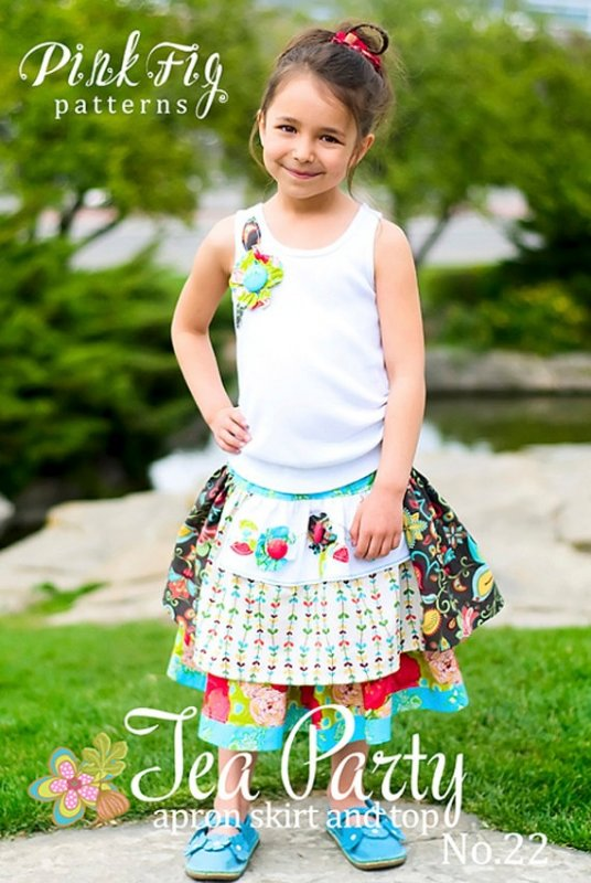 Tea Party apron skirt and top NO. 22 Pink Fig Patterns