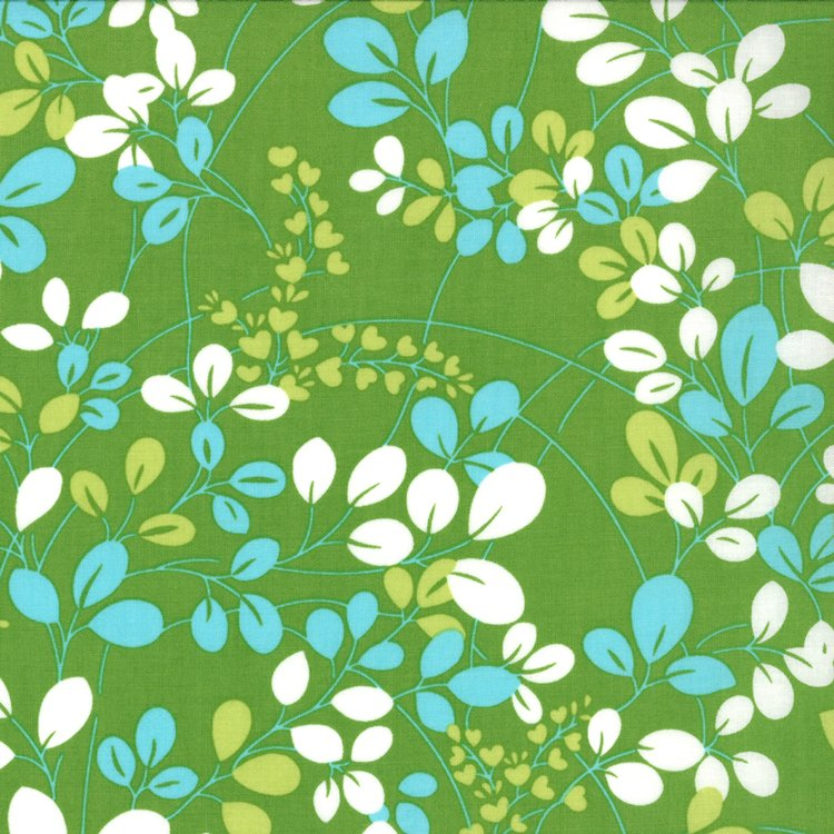 Simply Color Green Print with green white and teal vines and leaves - 10801 18