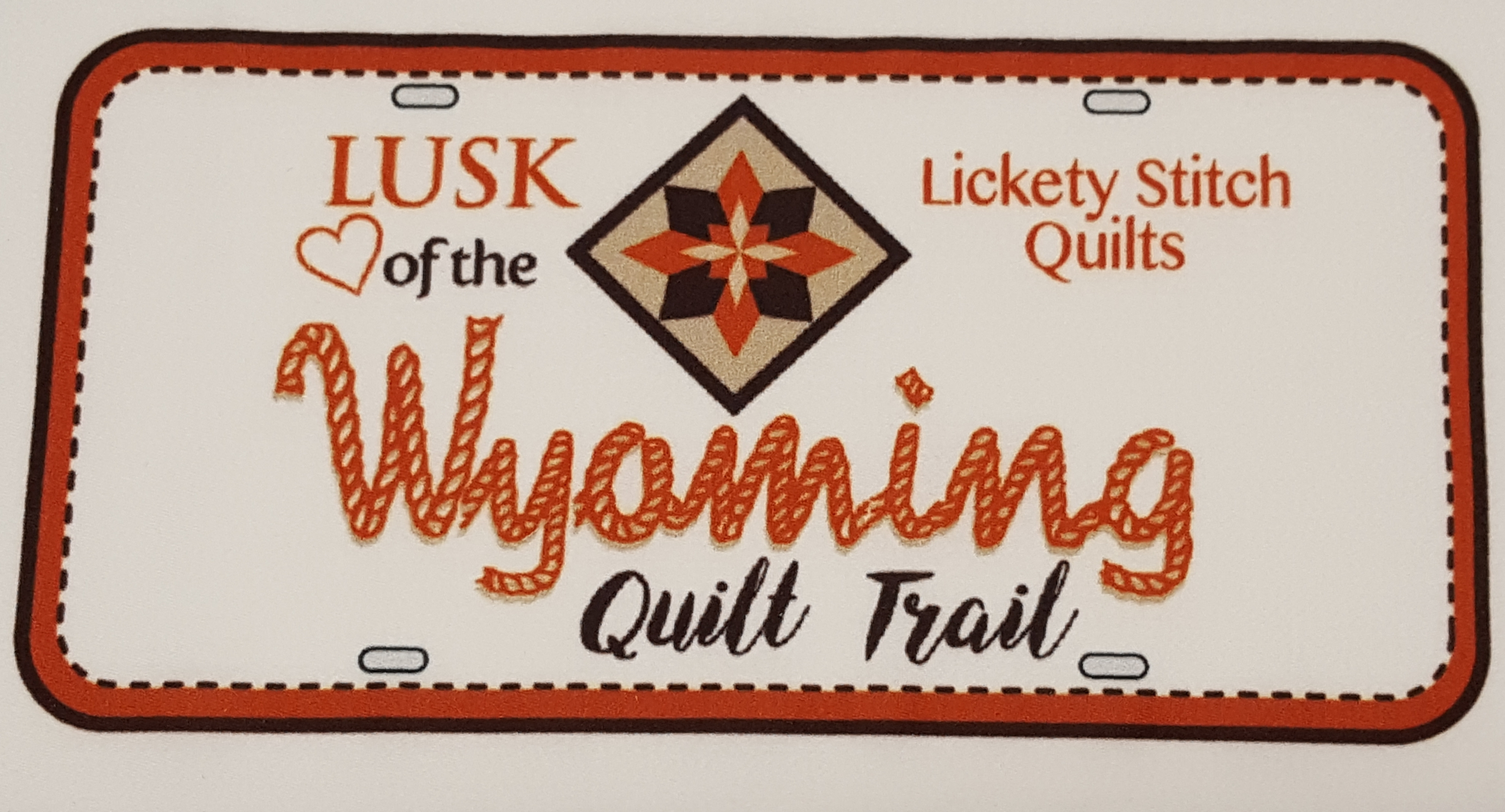License Plate - Lusk Heart of the Wyoming Quilt Trail 2019