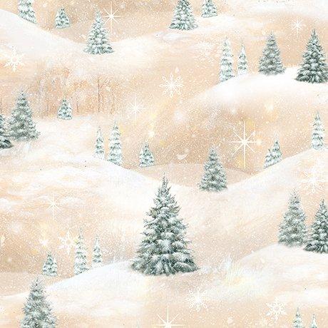Woodland Friends -Pine Trees Scenic Lt. Tan - 1649-25842-A
