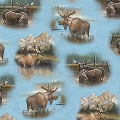 By Water's Edge - Moose Vignettes Blue- 1649-26042-B