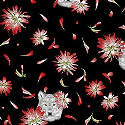 Indian Paintbrush - Flowers & Wolf Head - 1649-26135-J