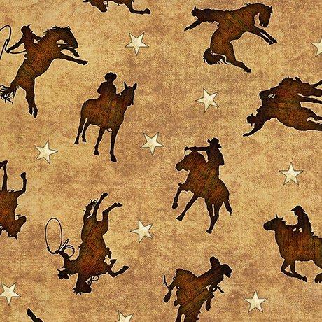 Mustang Sunset 1649-26486-A Cowboy Silhouette - Tan