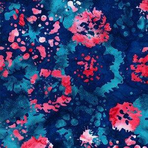 Blossom Batiks Ink Floral American Beauty - 2814-002