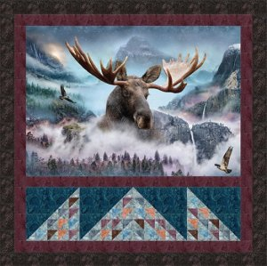 Elk with Mountain Quilt Blocks