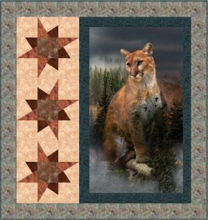 Quilt with Mountain Lion and Stars