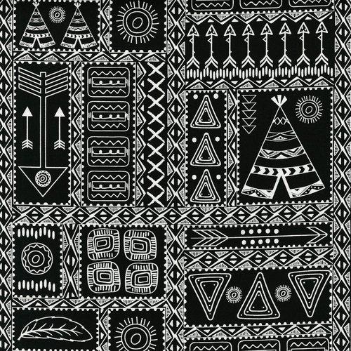 Pow Wow Wow! Patchwork Symbols- 3330-002 White-Black