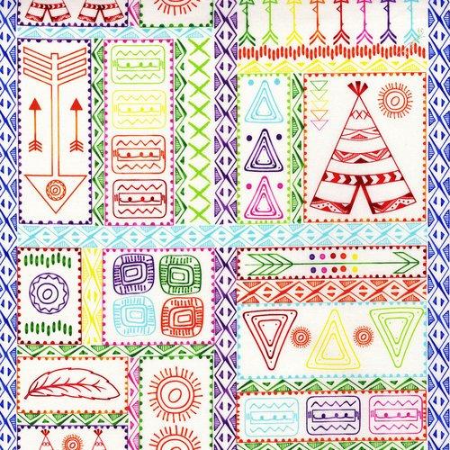 Pow Wow Wow! Patchwork Symbols- 3330-003 Bright White