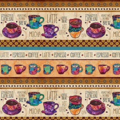 Coffee Break<br>4447-44 - Coffee Novelty Stripe