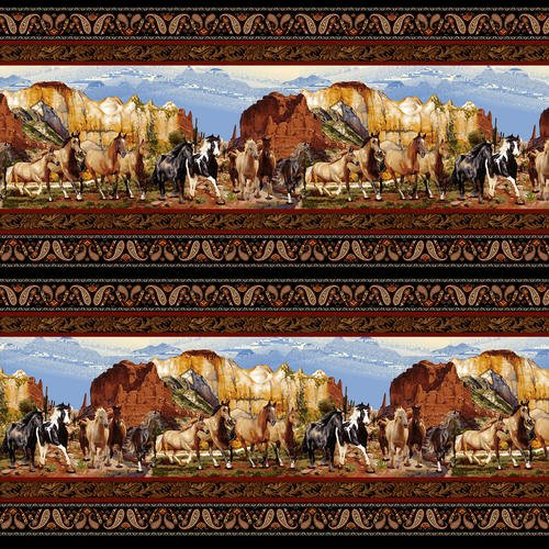 Wild Wild West 5356-99 Black Scenic Double Boarder