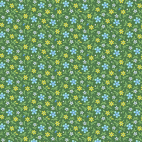 Little House on the Prairie Multi Flowers Green -A-7951-G