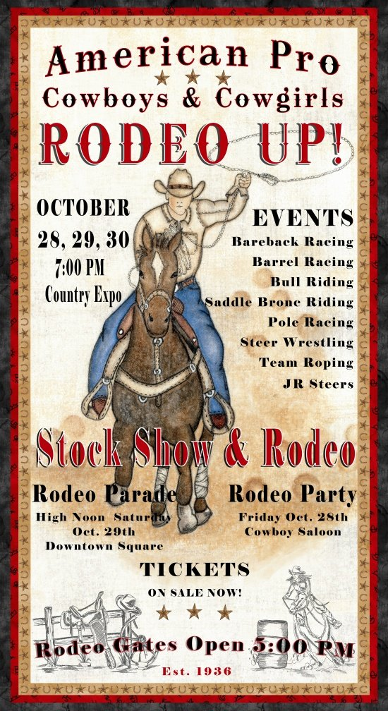 Rodeo Up! Ivory Rodeo Poster Panel - 8549-41