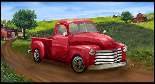 Country Paradise 9352P-88<br> Red Truck Panel 24