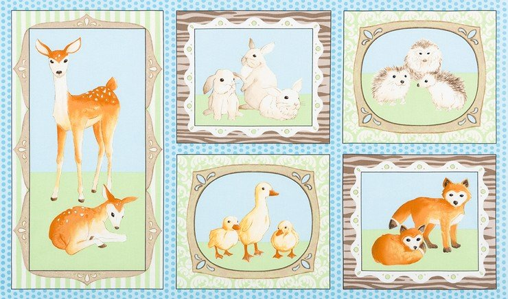 Fawn and Friends 24 panel - AWU-16670-4 BLUE