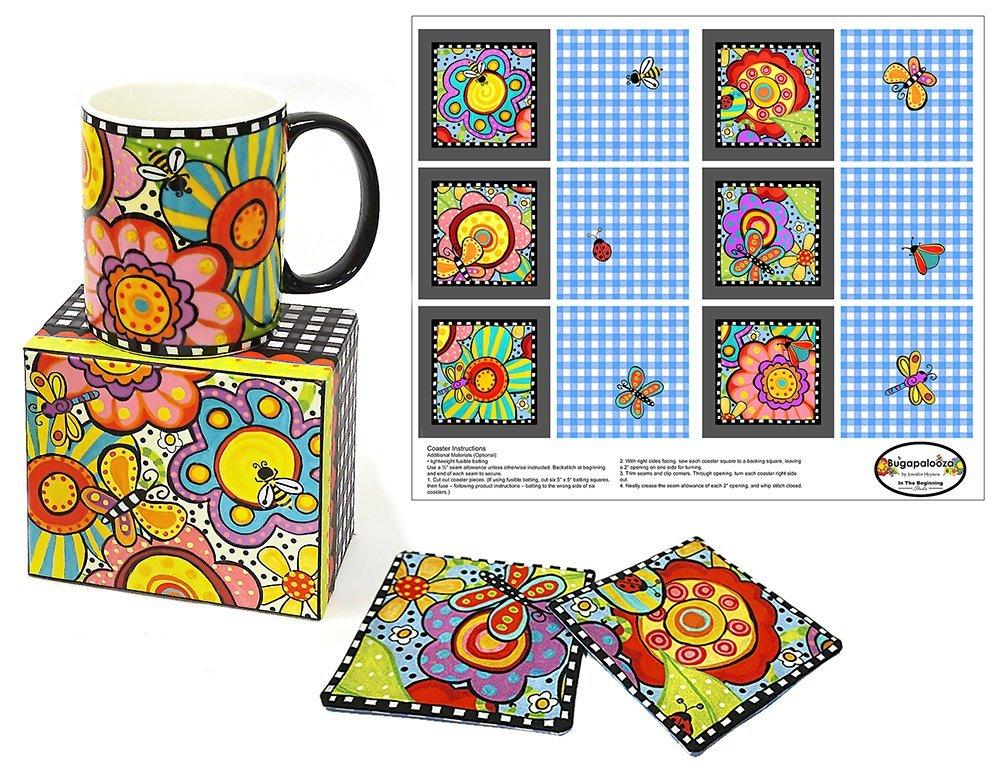 Bugapalooza Coffee Mug with Coaster Panel by Jennifer Heynen