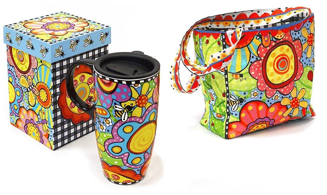 Bugapalooza Travel Mug with Lunch-Tote Panel by Jennifer Heynen