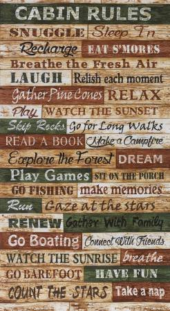 Cabin Rules 2/3 yd panel C4807