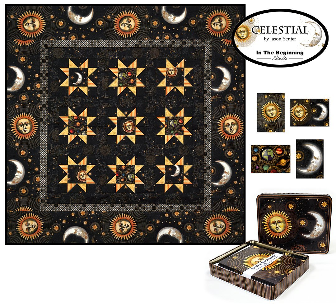 Celestial Note Cards with Quilt Panel by Jason Yenter