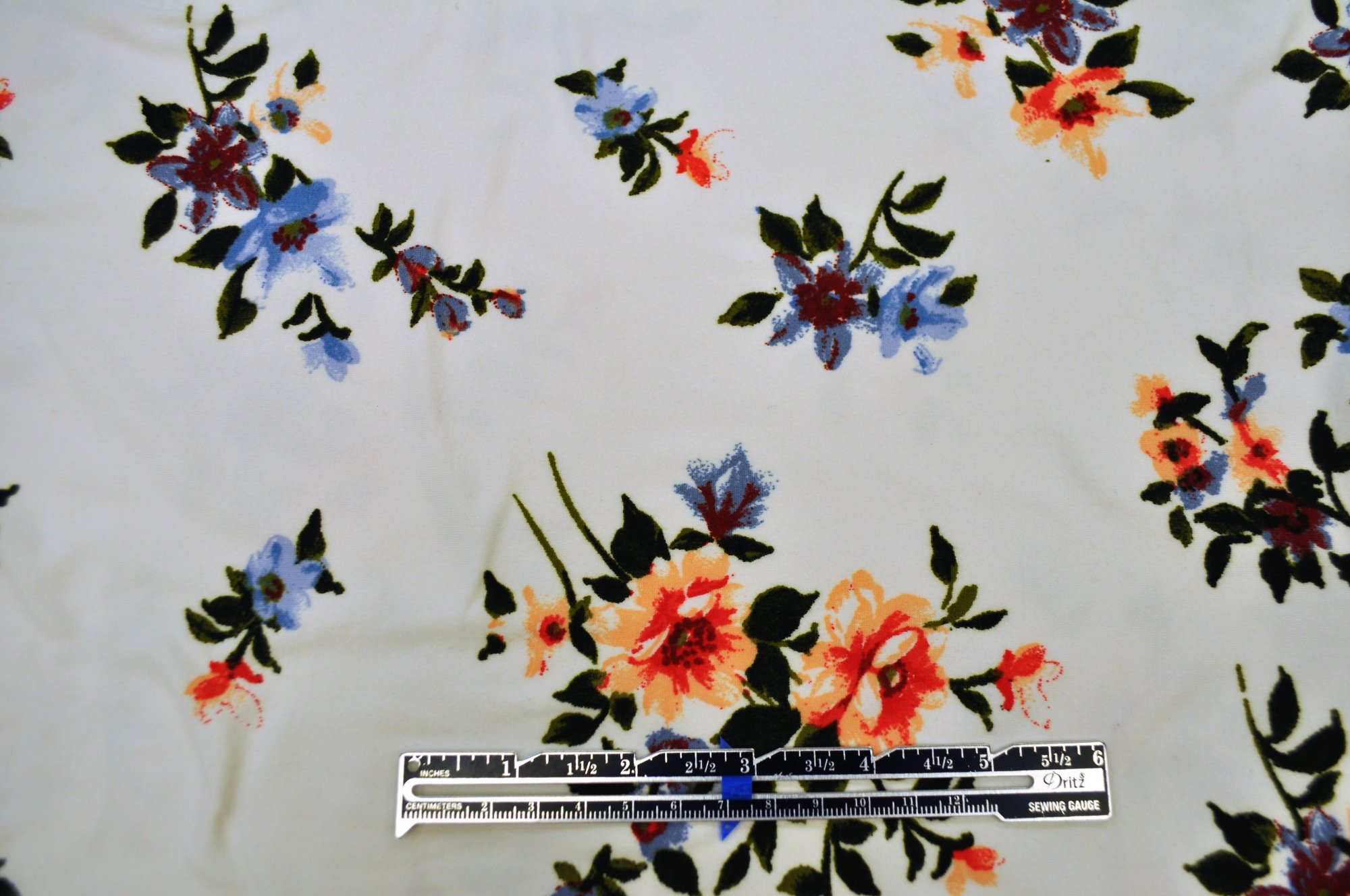 Double Brushed Poly Spandex - White Spaced Floral