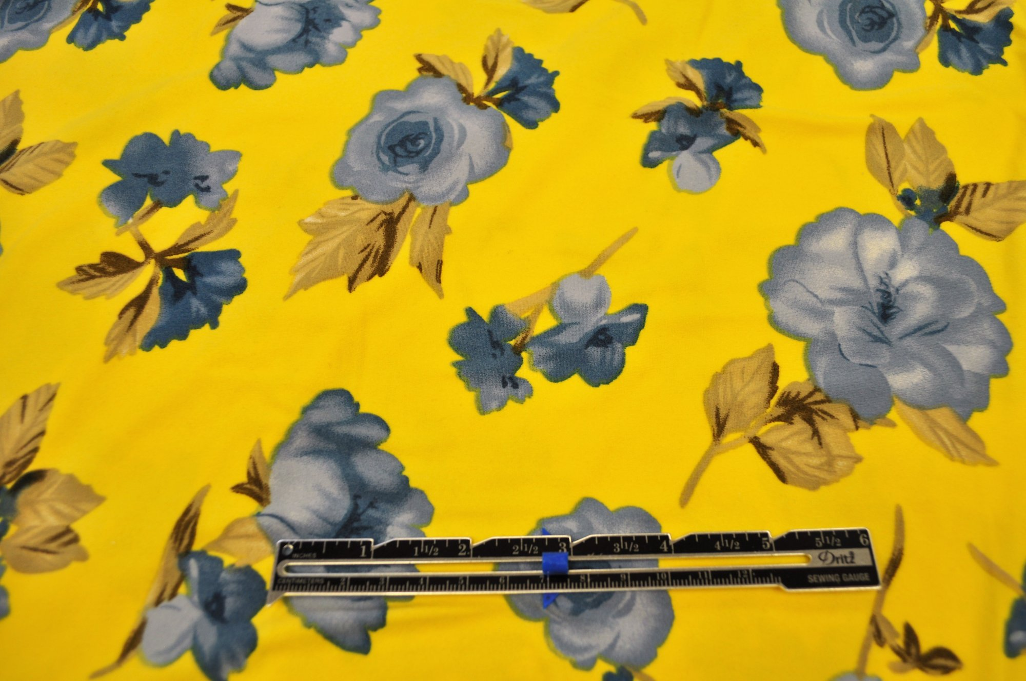 Double Brushed Poly Spandex - Yellow w/ Blue Floral