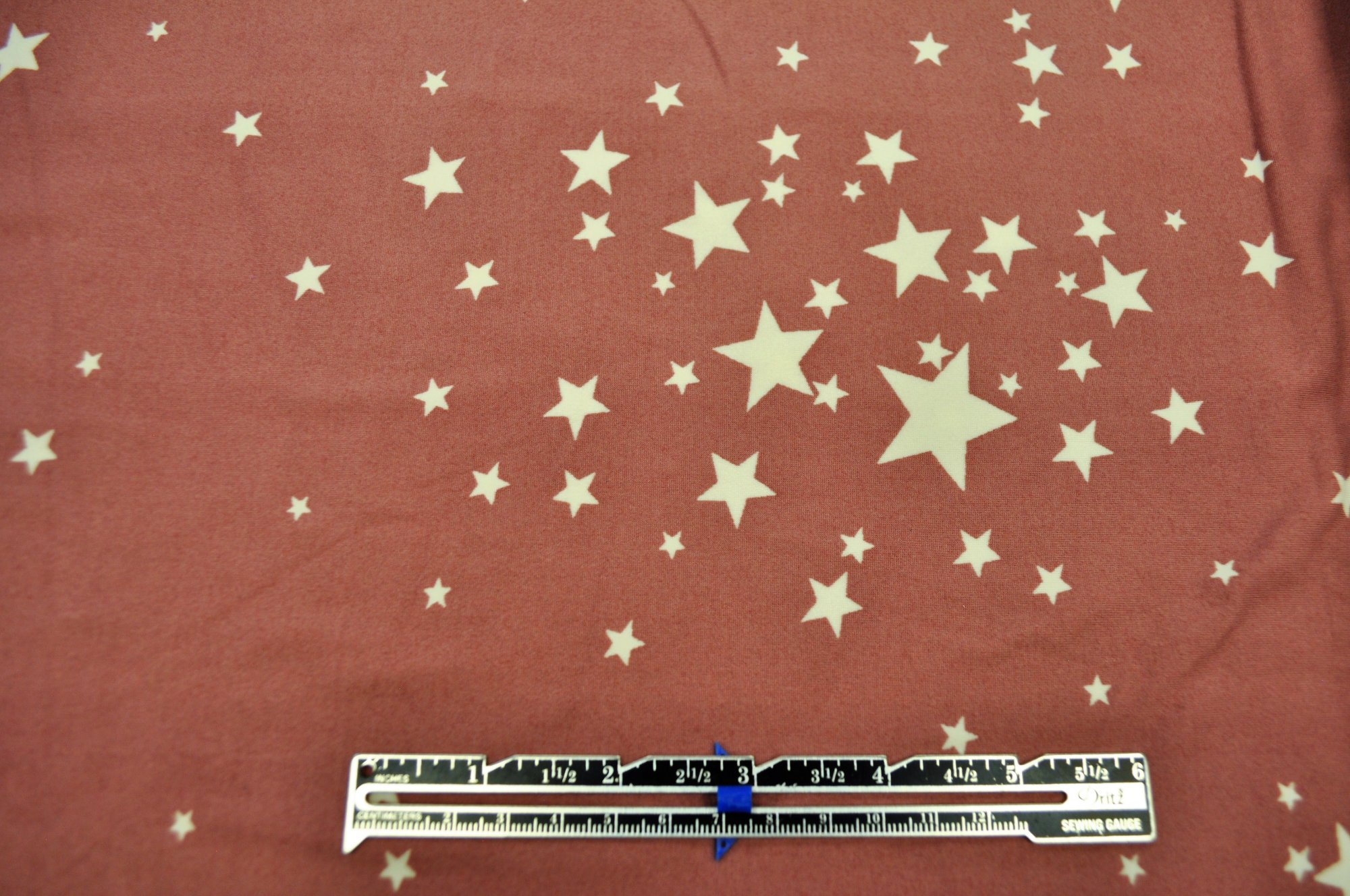Double Brushed Poly Spandex - Pink Stars