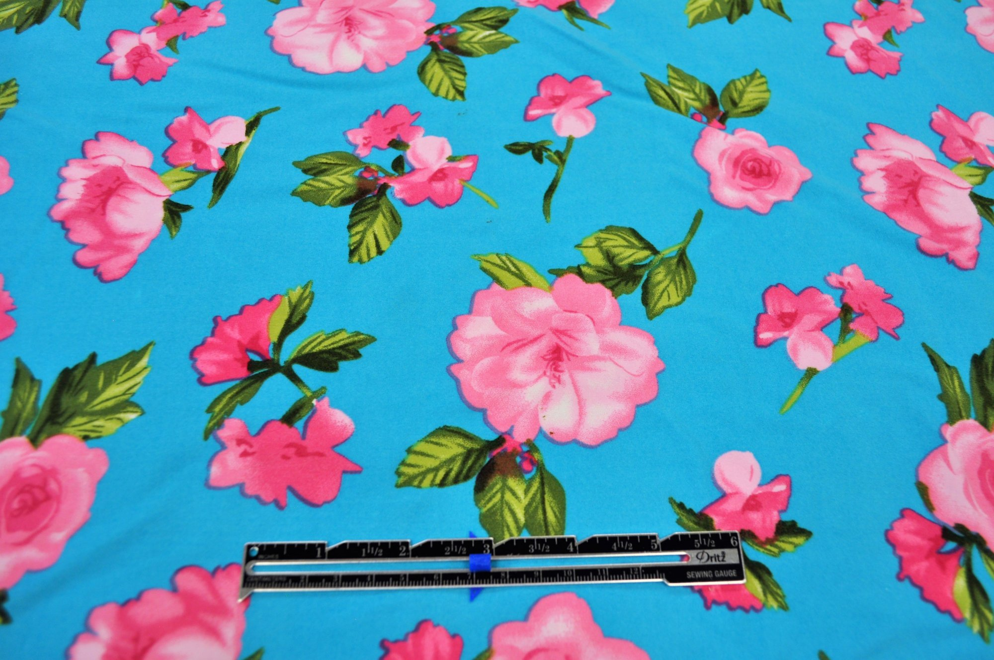 Double Brushed Poly Spandex - Sky Blue Floral