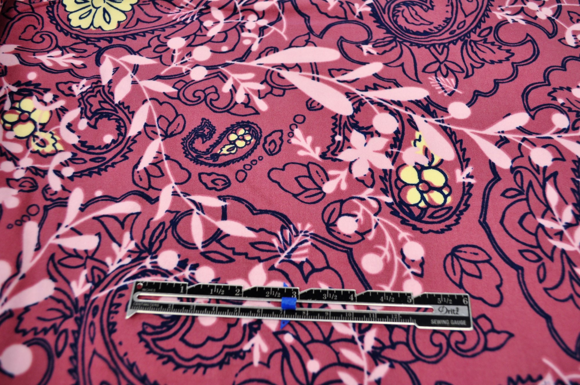 Double Brushed Poly Spandex - Pink Viney Floral