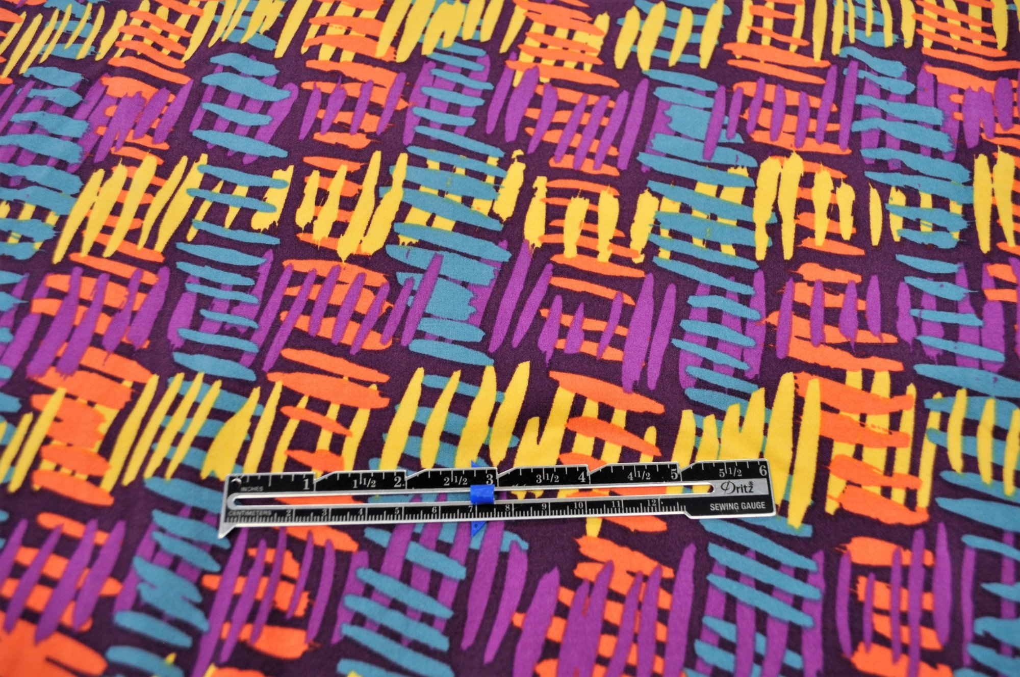 Double Brushed Poly Spandex - Purple with Wild Stripes