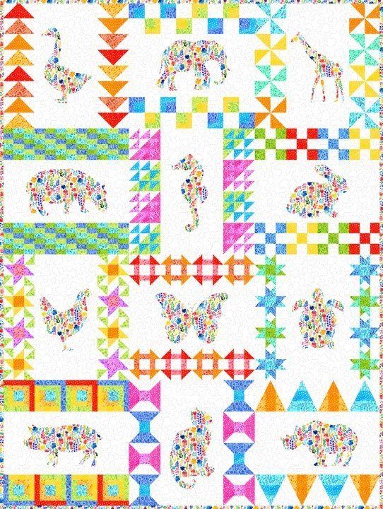 Floral Menagerie Quilt Kit - 72 1/2 x 96 1/2
