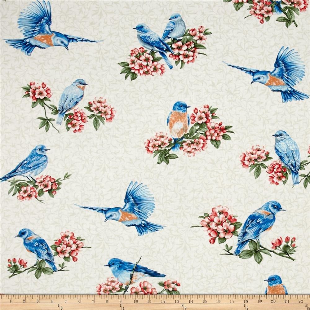 Bluebird Gathering Cream Cutable Bluebirds - 00512-07