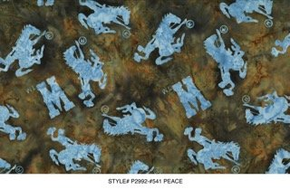 NEW Bali Batik Wyoming Bucking Horse  P2992-541 Peace