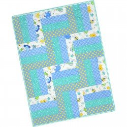 12 Block Rail Fence Quilt Blue