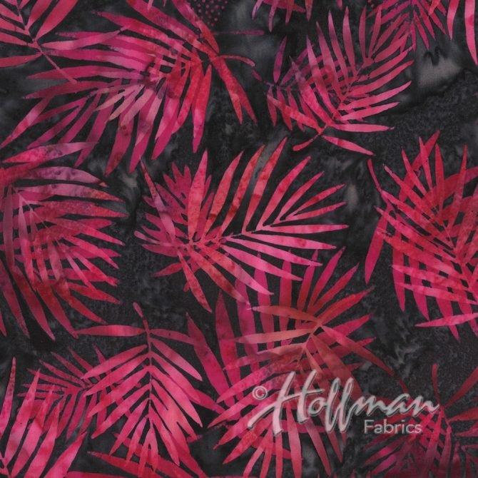 Bali Batik - Q2104-97 - Palm Leaves Raspberry