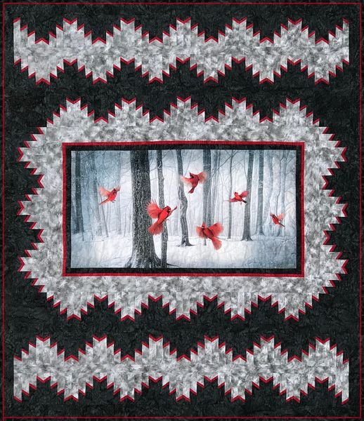 A Delectable Panel Cardinal Quilt Kit - 68 x 80