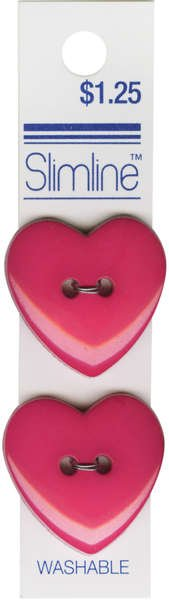 2 Hole Button Fuchsia Heart 1in 2ct