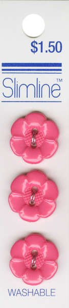 2 Hole Button Pink Flower 5/8in 3ct