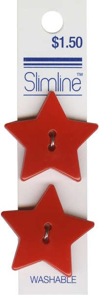 2 Hole Button Red Star 1-1/8in 2ct